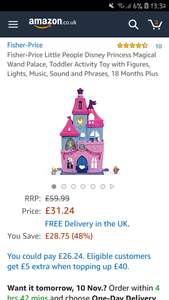 Fisher-Price Little People Disney Princess Magical Wand Palace, Toddler Activity Toy - £31.24 at  Amazon