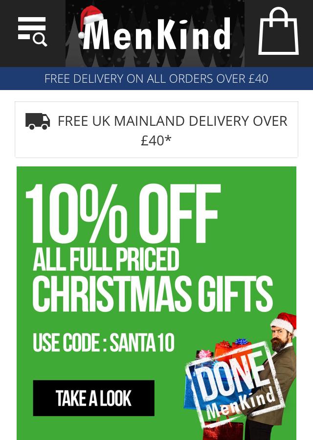 MenKind Christmas Earlybird 10% off