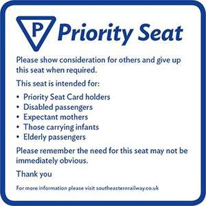 Southeastern Railway Card Free (Priority seat card) @ Southeastern Railway