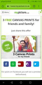 Free canvas from mypicture - £5 delivery