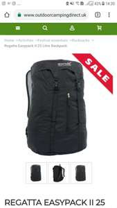 Regatta Easypack 25l backpack black,  £4.50 (+2.50del) @ outdoorcampingdirect