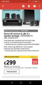 Denon AV receiver & JBL 5.1 surrounded sound speaker set £299 at richer sounds (VIP member)