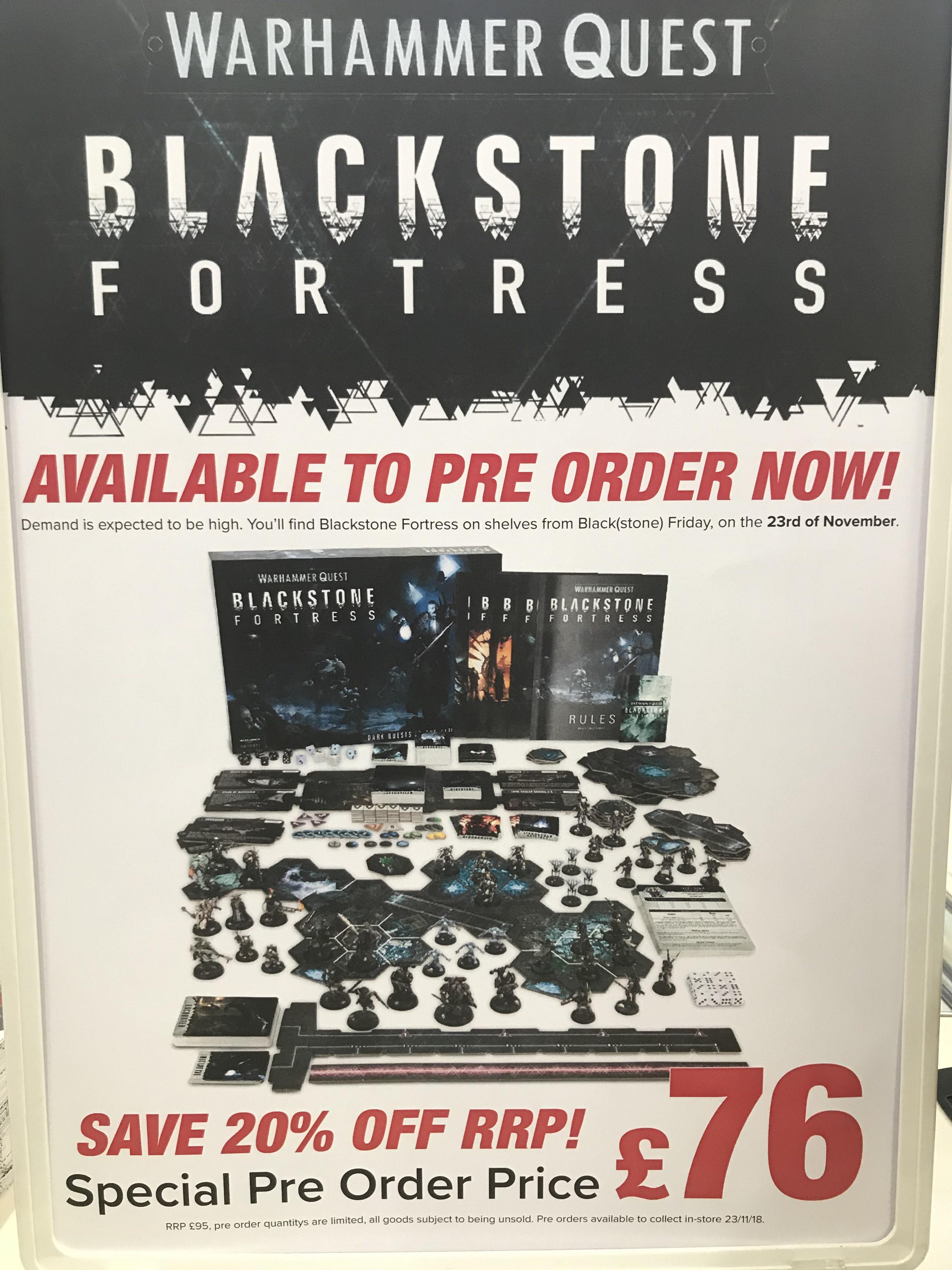 Blackstone Fortress - £76 pre order instore @ Boyes