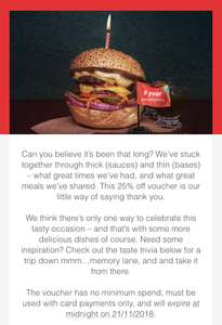 JUST EAT ANNIVERSARY 25% OFF
