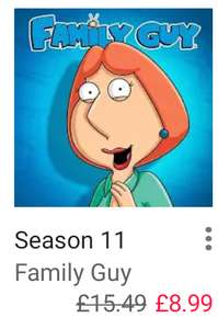 Family Guy seasons 10, 11, 12 and 13 only £8.99 each @ Google Play