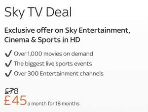 Sky new customer offer - Sky Entertainment, Cinema & Sports HD - £45pm x 18 Months = £810