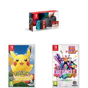 Nintendo Switch & 2 Games 1 to be Just Dance plus either Let's Go Pikachu, Let's Go Eevee, Mario Party or Mario Kart 8 for £299.99 @ Amazon