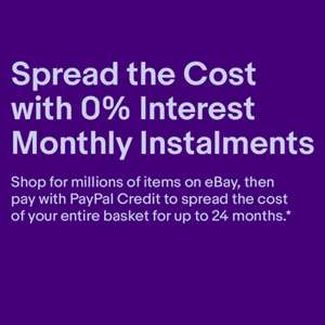 0% Interest for 24 Months on £199 Purchase (12 Months for £99 Purchase) when using Paypal Credit @ eBay