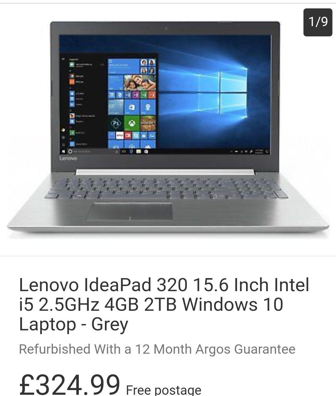 Lenovo IdeaPad 320 15.6 Inch Intel i5 2.5GHz 4GB 2TB  - Grey Refurb With a 12mth Guarantee £324.99 Argos eBay & 24 months 0% via PayPal ebay