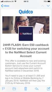 £125 for switching your account to the NatWest Select Current Account (Quidco Earn £40/£50 cashback as well)