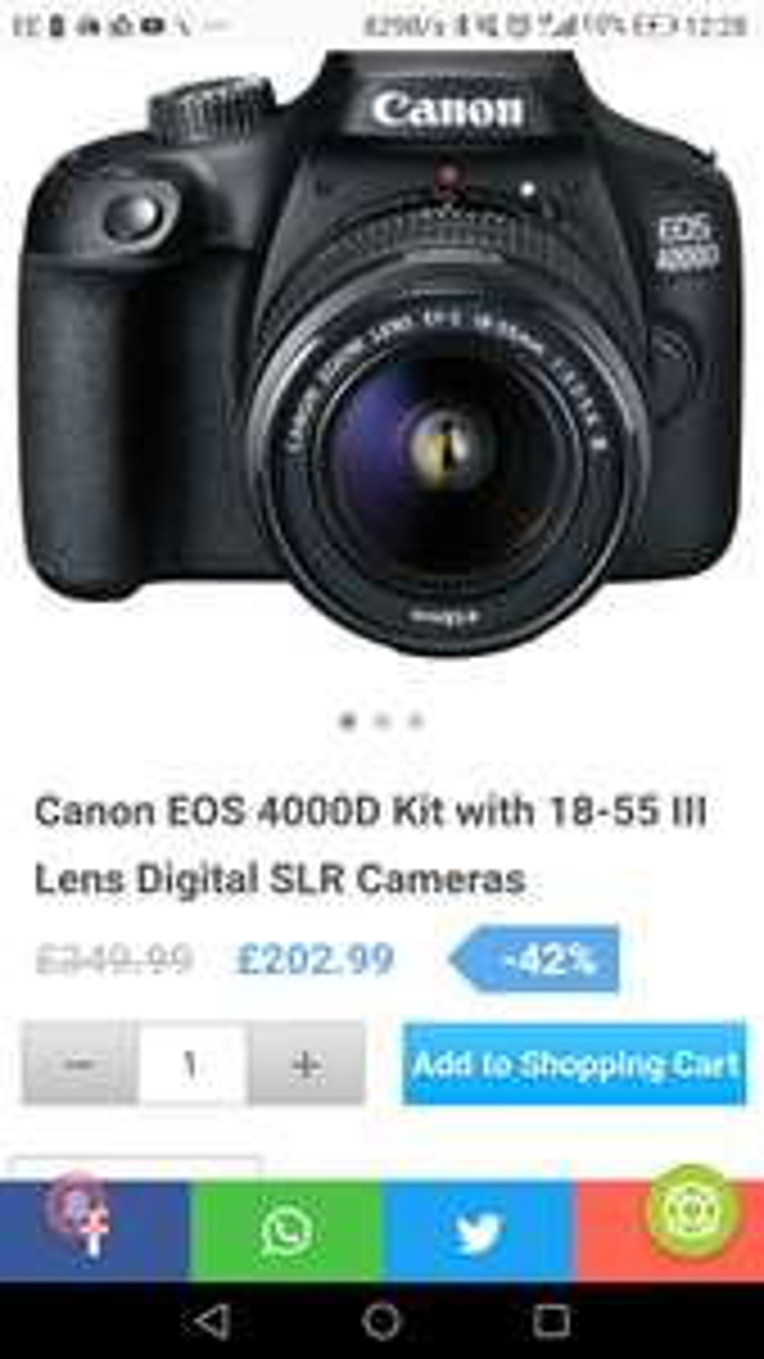 Canon Eos 4000dD kit with 18-50 lens digital SLR camera £197.99 @ eGlobal central