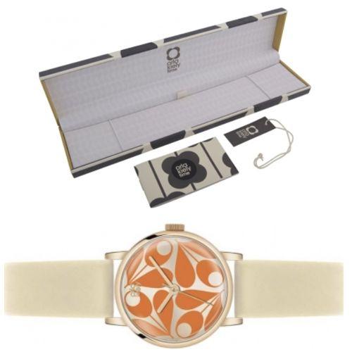 Orla Kiely Ladies Patricia Orange Cream Leather Strap Watch [OK2080] £24.98 delivered @ Watches2U