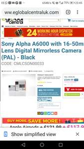 Compact Sony a6000 mirrorless DSLR quality camera £344.99 with £5 off on eGlobal Central