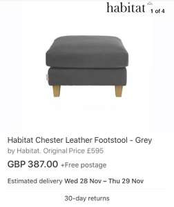 Habitat Chester Leather Footstool - Grey (used) £387 @ Argos ebay