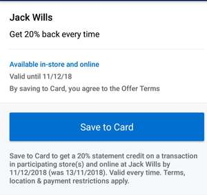 Jack Wills 20% cashback on Amex offers