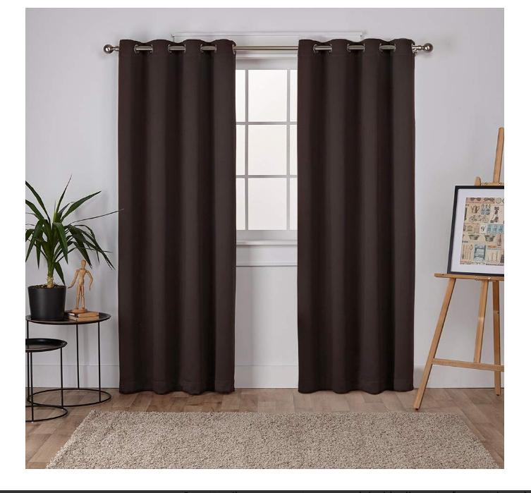 Exclusive Home Curtains Sateen Woven Blackout Grommet Top Panel Pair, Espresso, 52x96, 2 Piece @ Amazon £7.59 Prime £12.08 Non Prime