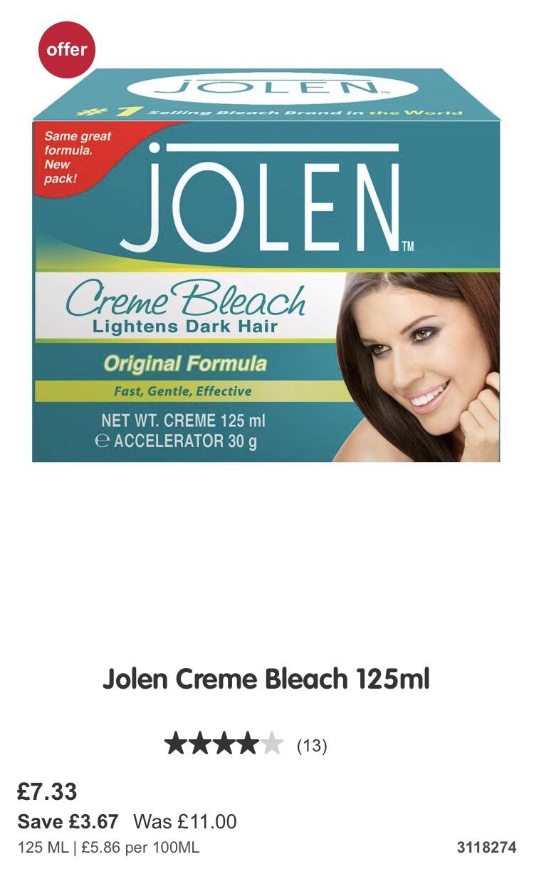 Jolen Cremé bleach 125ml @ boots £7.33 - free c&c