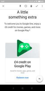 Google one upgrade, storage 1TB to 2 TB and £4 free Play store credit (email invite)