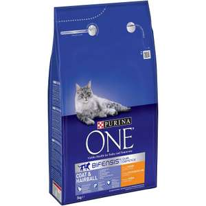 Purina ONE Coat and Hairball, Dry Cat Food (Chicken), 3kg £8.99 (Prime) / £13.48 (non Prime) at Amazon