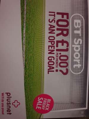 BT Sport for £1.00 per month for 6 months then £5.00 @ Plusnet