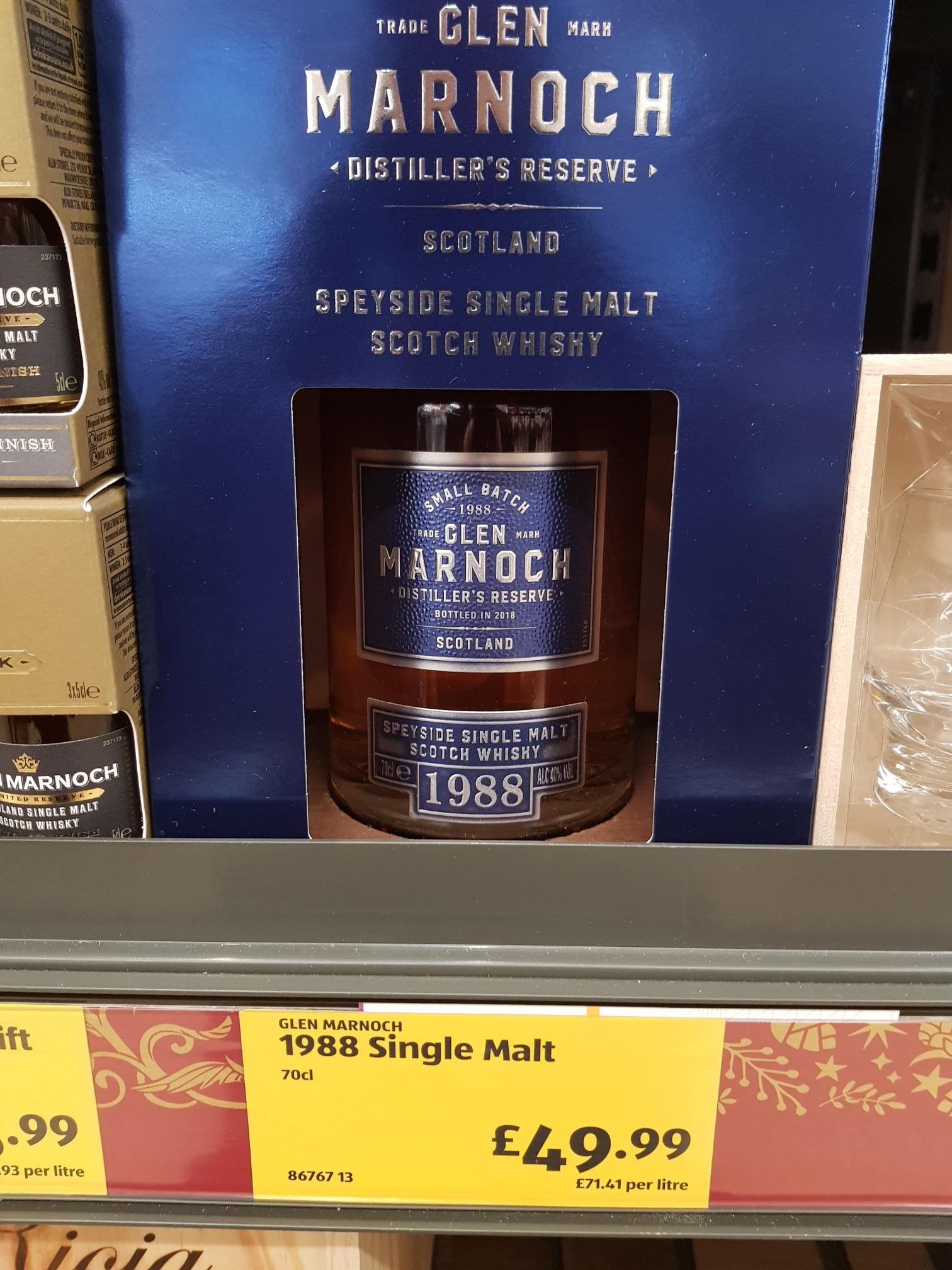 Aldi glen marnoch 1988 speyside single malt whisky £49.99