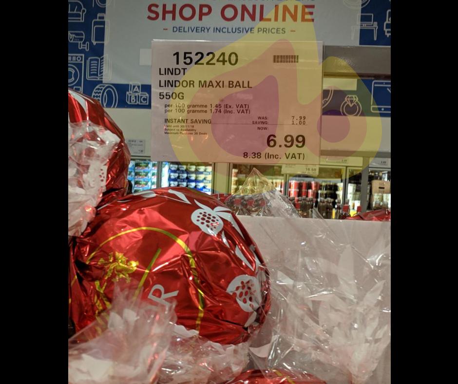Lindor 550g Maxi Ball - £8.38 (Inc VAT) Costco in store