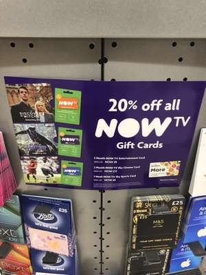 20% off Now TV cards instore at Morrisons - £8