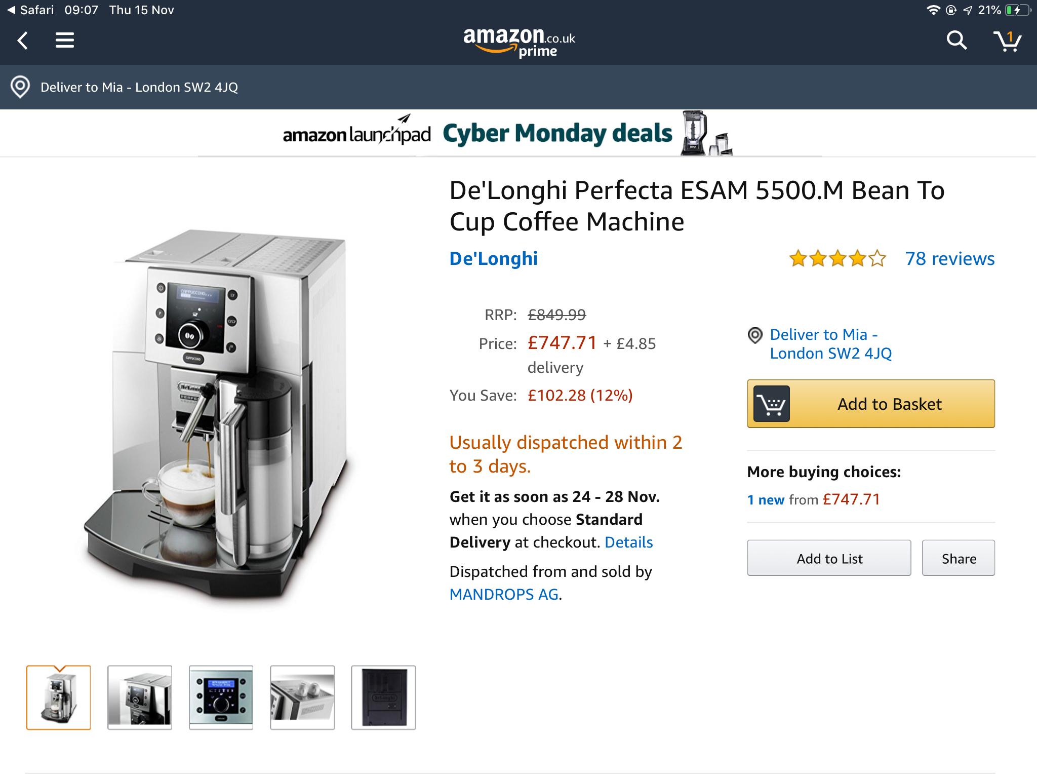 De Longhi ESAM 5500.B Bean To Cup Coffee Machine £260  Amazon Italy