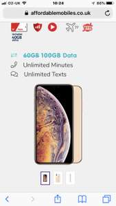 iPhone Xs Max 64GB Gold Vodafone  100 gb data, roaming, unlmtd text/calls, 500 direct EU calls. Term £1713.99 @ Affordable Mobiles