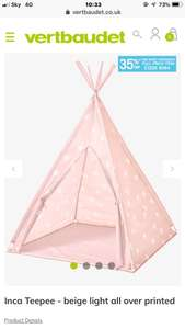 Kids Inca Teepee Tent £22.84 delivered Pink/Grey at Vertbaudet