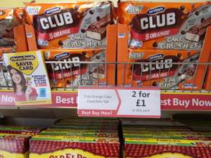 Mcvitie's Club Orange Cake Crunchies 5 Pack, 2 packs for £1. Heron Foods