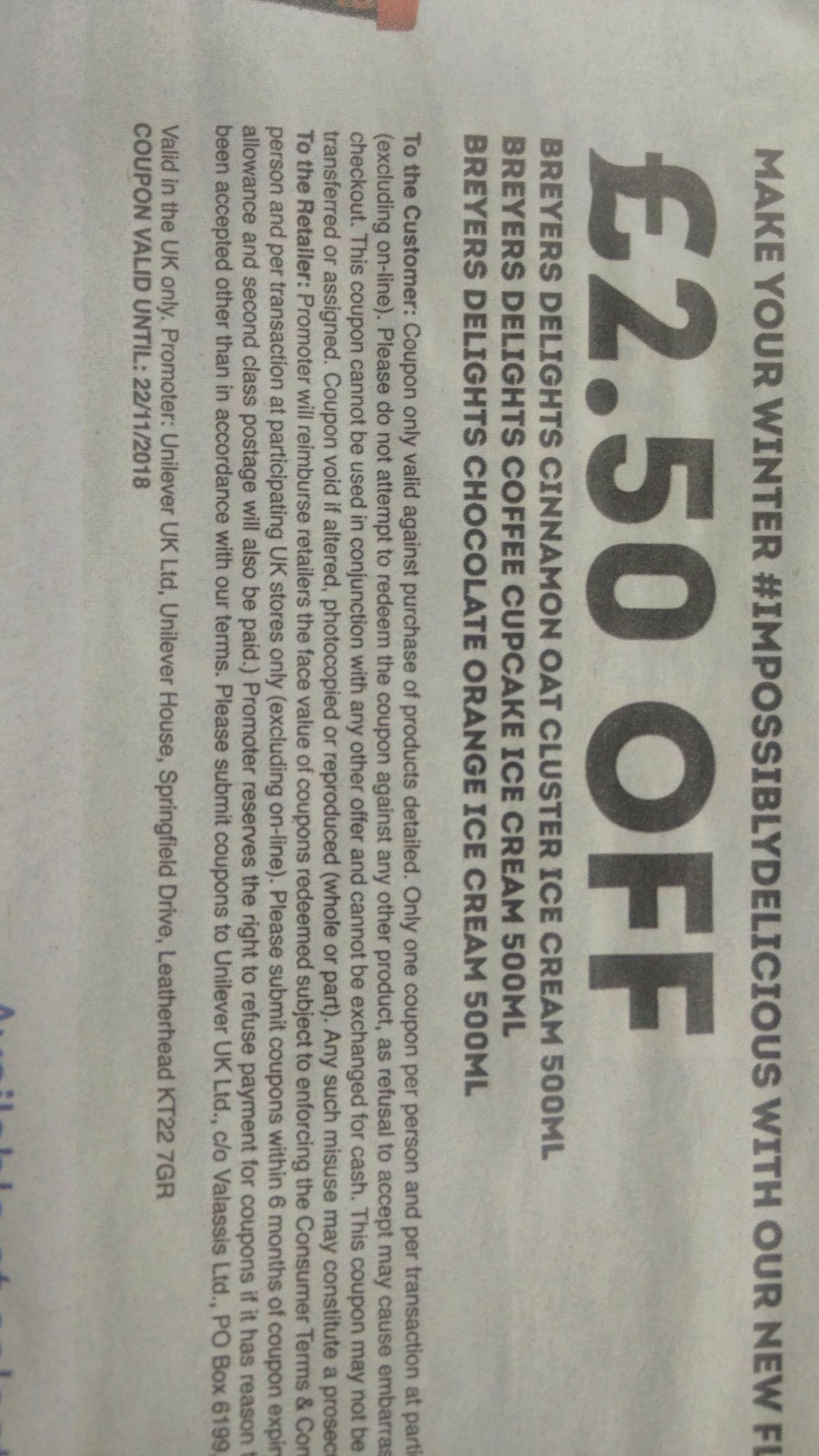 £2.50 off Breyers Delights ice cream at Tesco, voucher in Metro paper