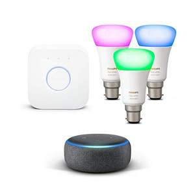 Echo Dot (3rd Gen) Philips Hue White & Colour Ambiance B22 / E27 Starter Kit - £89.99 @ Amazon