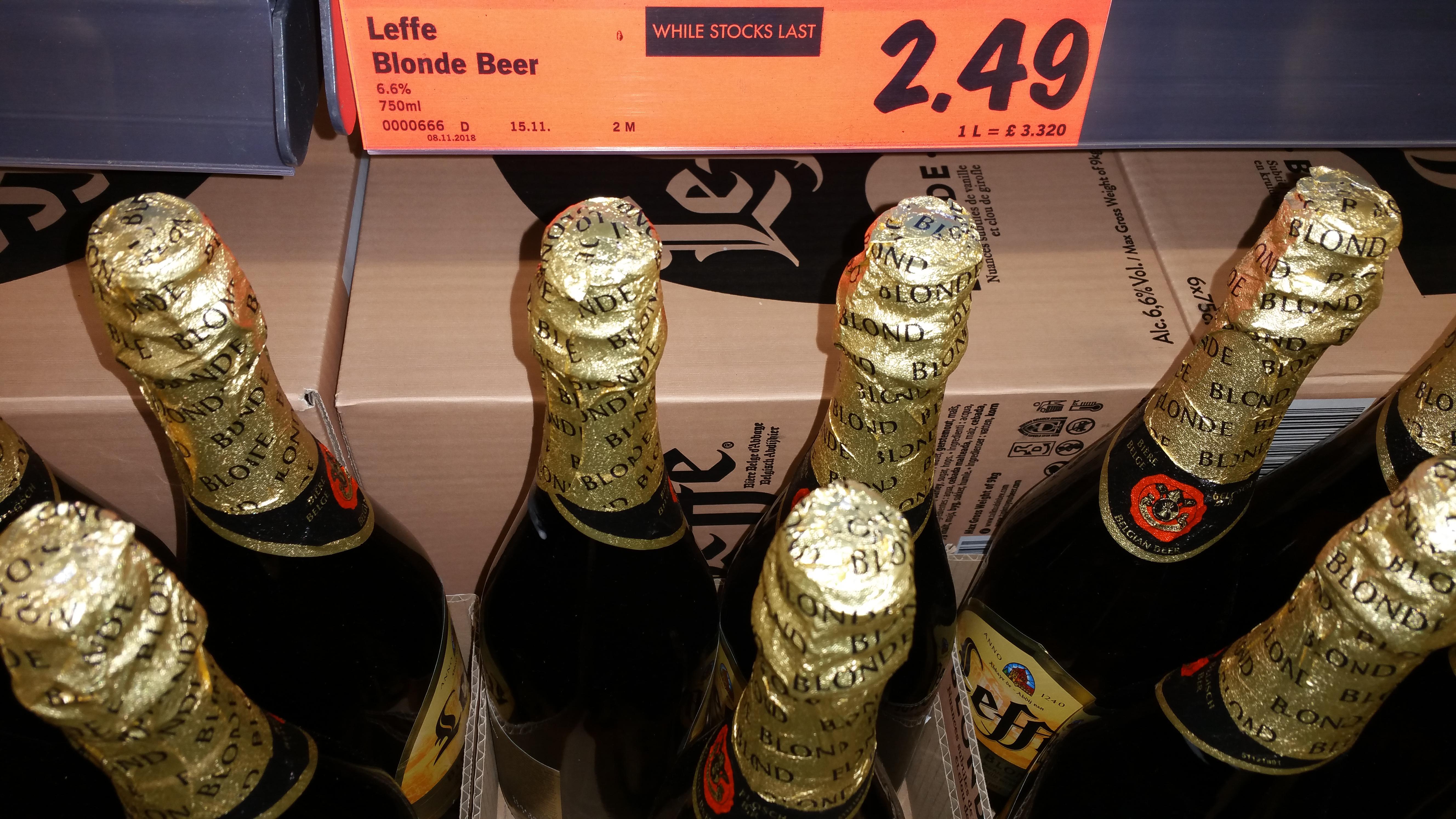 Leffe Belgian beer blonde 75cl, £2.49 at Lidl