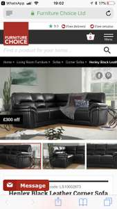 Corner leather sofa in various colours with free delivery - £699.99 @ Furniture Choice