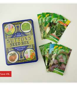 Spend £10 on seeds, get tin heritage box + 10 extra packets of seeds for £10 (So total £20) @ Suttons