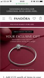 Pandora offer - Spend £125 or more and receive a limited edition sterling silver bangle free