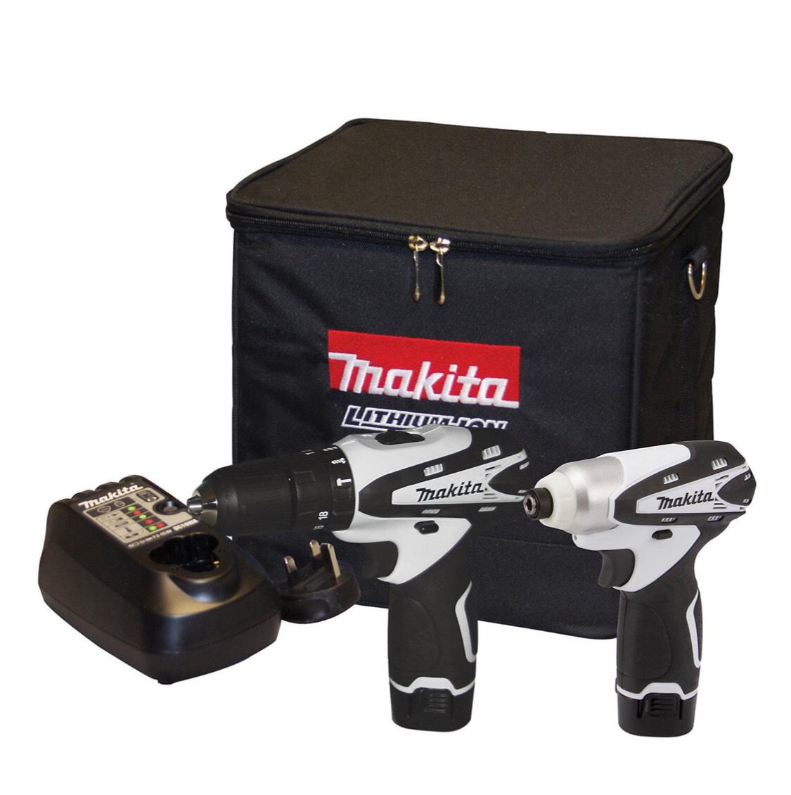 Makita 1.3Ah Li-ion Combi drill & impact driver twin pack 2 batteries DK1486W