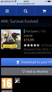 ARK: survival evolved PS4 game £15.99 @ PS store (with PS Plus)