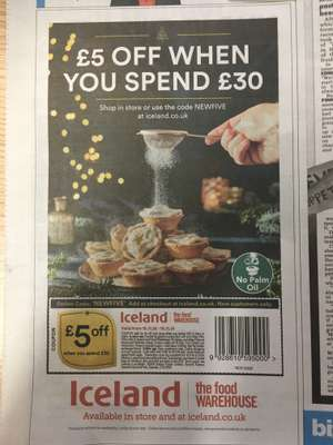 £5 off £30 spend at iceland in the sun paper (55p)