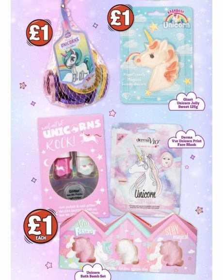 Unicorn stocking fillers £1 @ Poundland