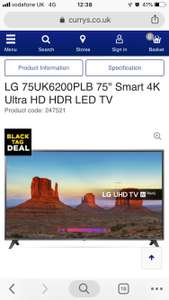 """LG 75UK6200PLB 75"""" Smart 4K Ultra HD HDR LED TV £999 from Currys"""