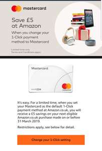 Free £5 for using one click payment using MasterCard on Amazon (account specific)