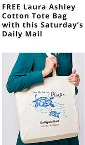 FREE Laura Ashley Cotton Tote Bag with this Saturday's Daily Mail £1 Fight against plastic