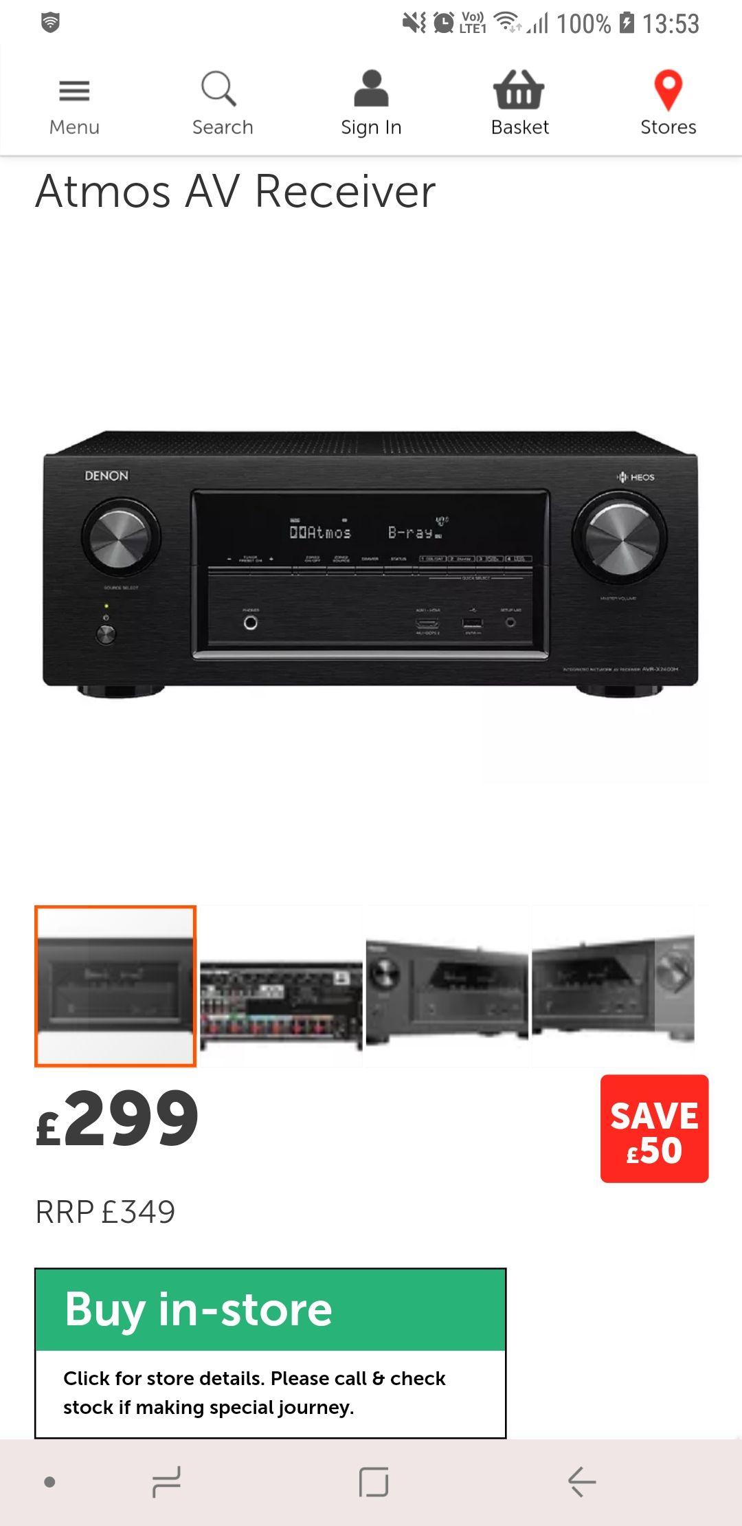 Denon AVRX2400(Black)Atmos AV Receiver £299  Richer Sounds