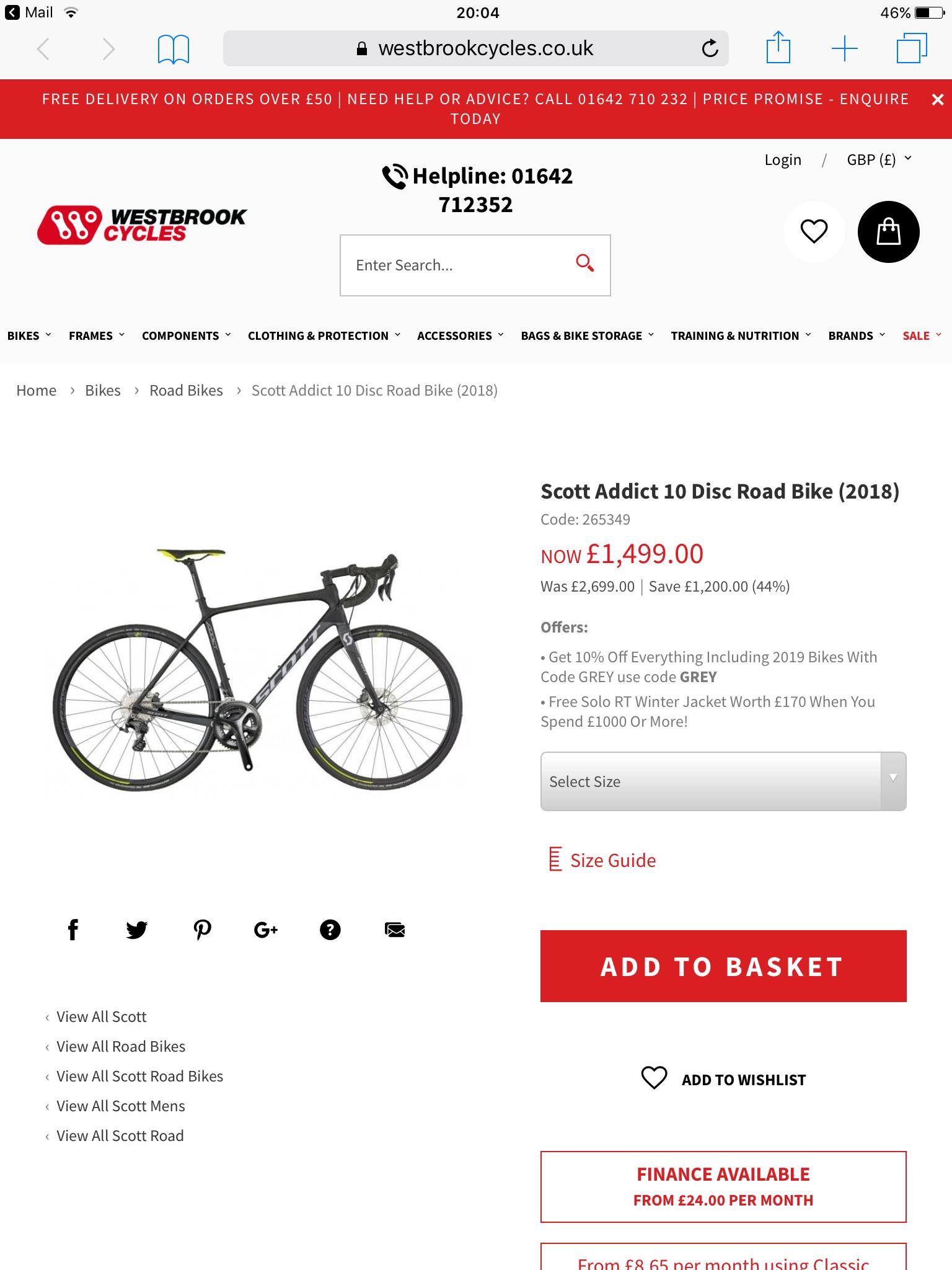 Scott addict 10 disc road bike £1499 @ Westbrook cycles