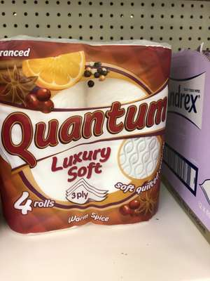 Multipack of x4 warm spiced fragranced Quantum luxury soft 3ply toilet roll £1 at poundland