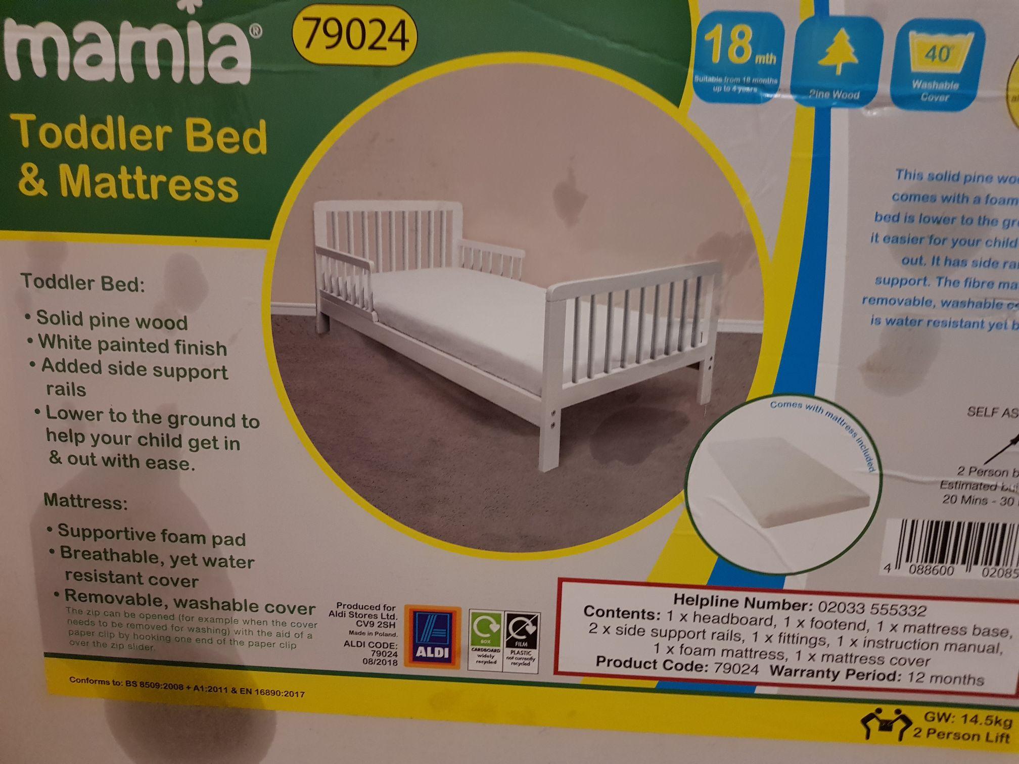 Aldi's Mamia toddler bed and mattress - £19.99 instore @ ALDI