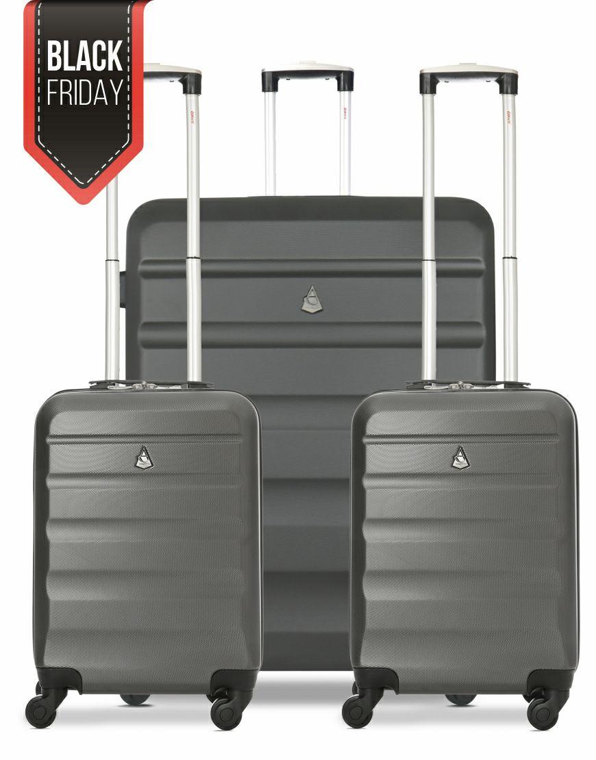 Aerolite Hard Shell Charcoal Suitcase Set – (2x Cabin & 1x Large Luggage) - £59.99 @ Travel Luggage & Cabin Bags