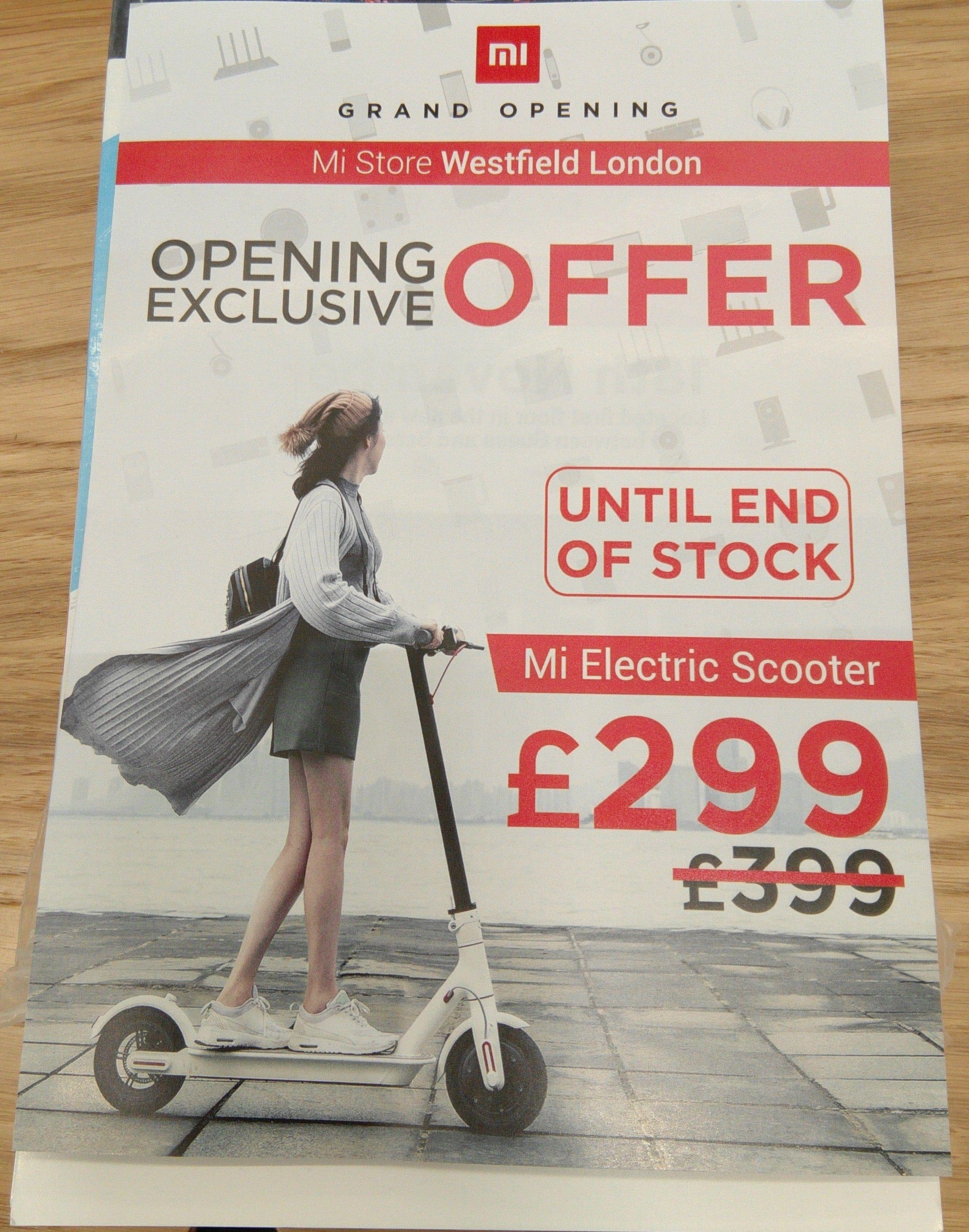 Mi Scooter in Mi Store UK warranty (Westfield) 1st 100 customers - £299